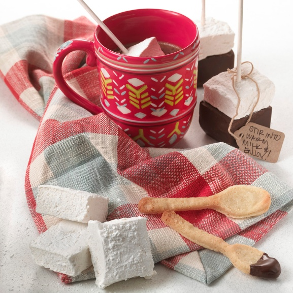 Hot chocolate and marshmallow sticks