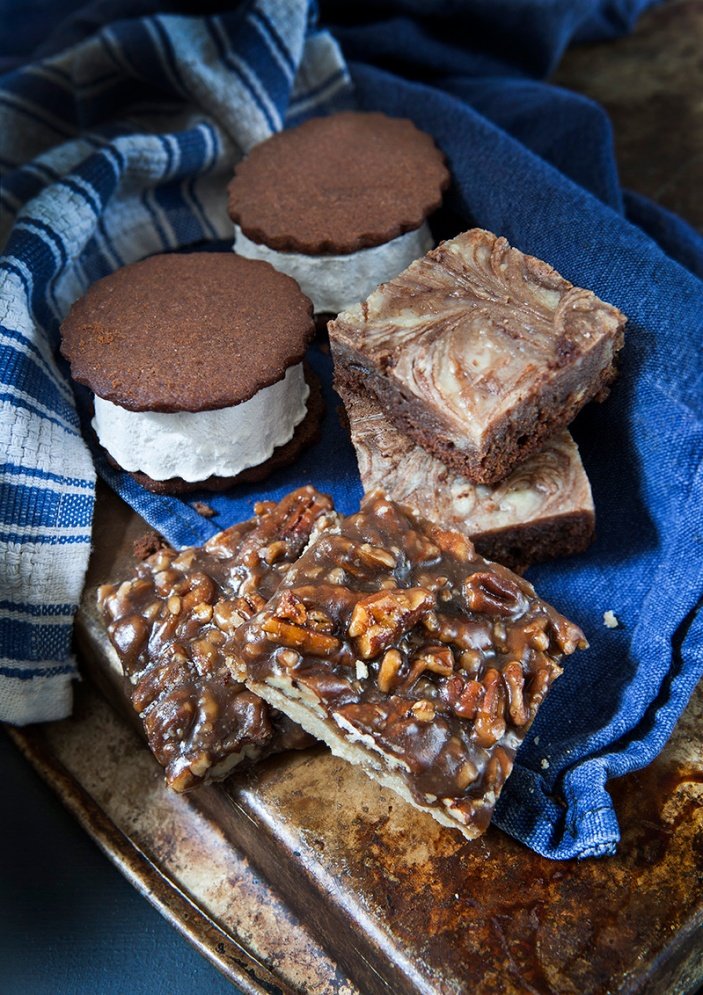 smores, pecan bars, brownies